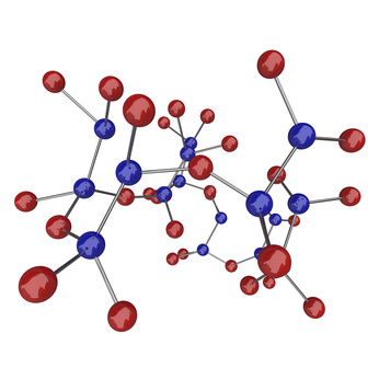 Molecule - Blue and Red Atoms