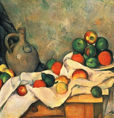 Still life, drapery, pitcher and fruit bowl by Cezanne (cropped)